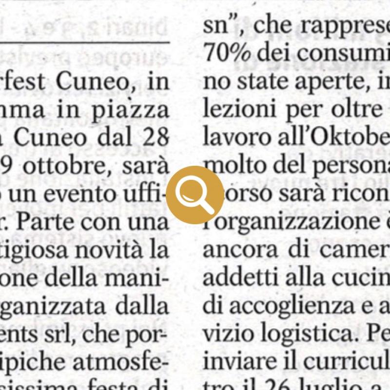 Oktoberfest Cuneo ricerca personale
