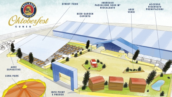 Rendering della nuova area esterna del Paulaner Oktoberfest Cuneo 2019